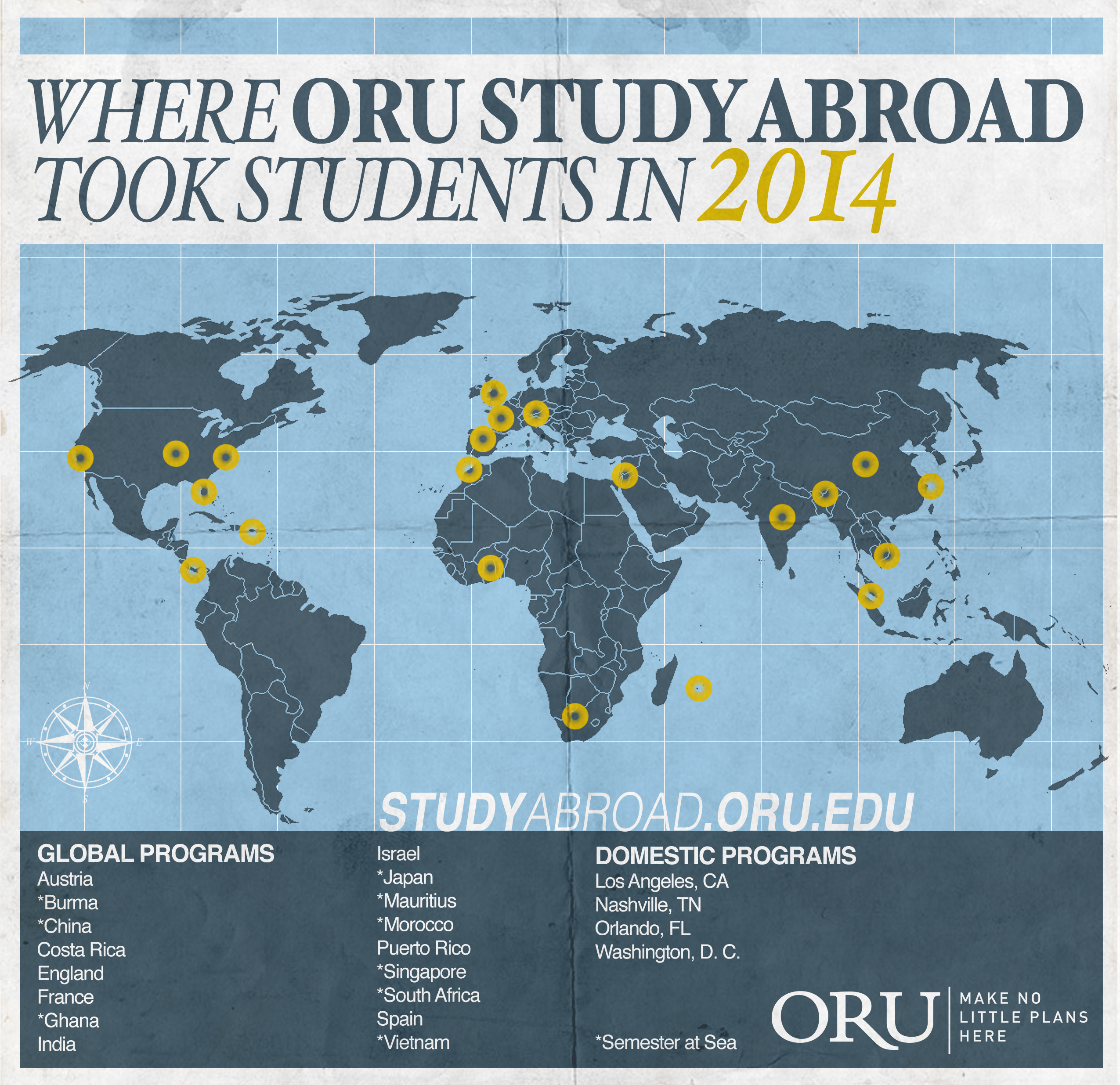 Where ORU Study Abroad Took Students in 2014