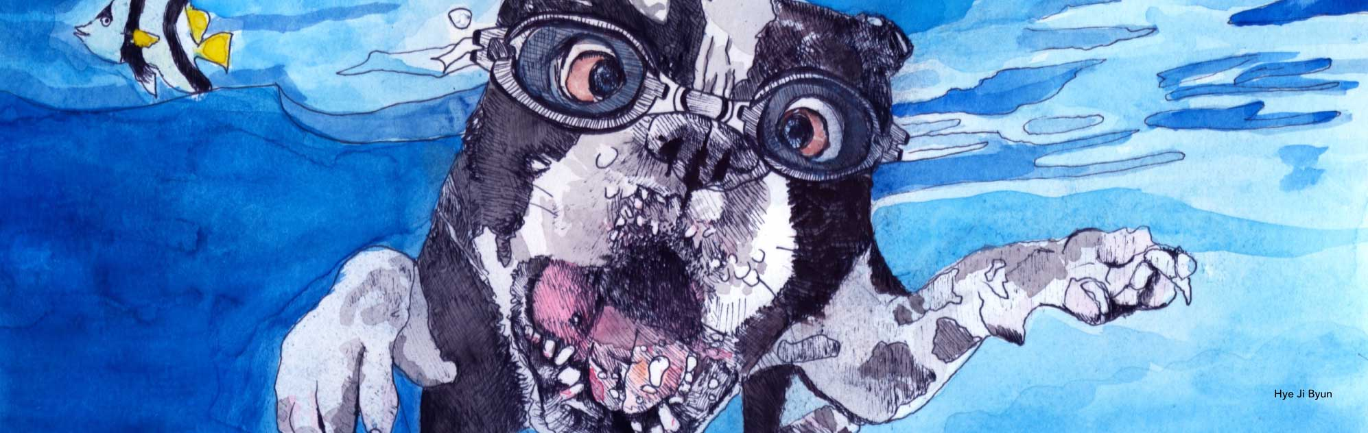 Watercolor illustration of pug with goggles in water.