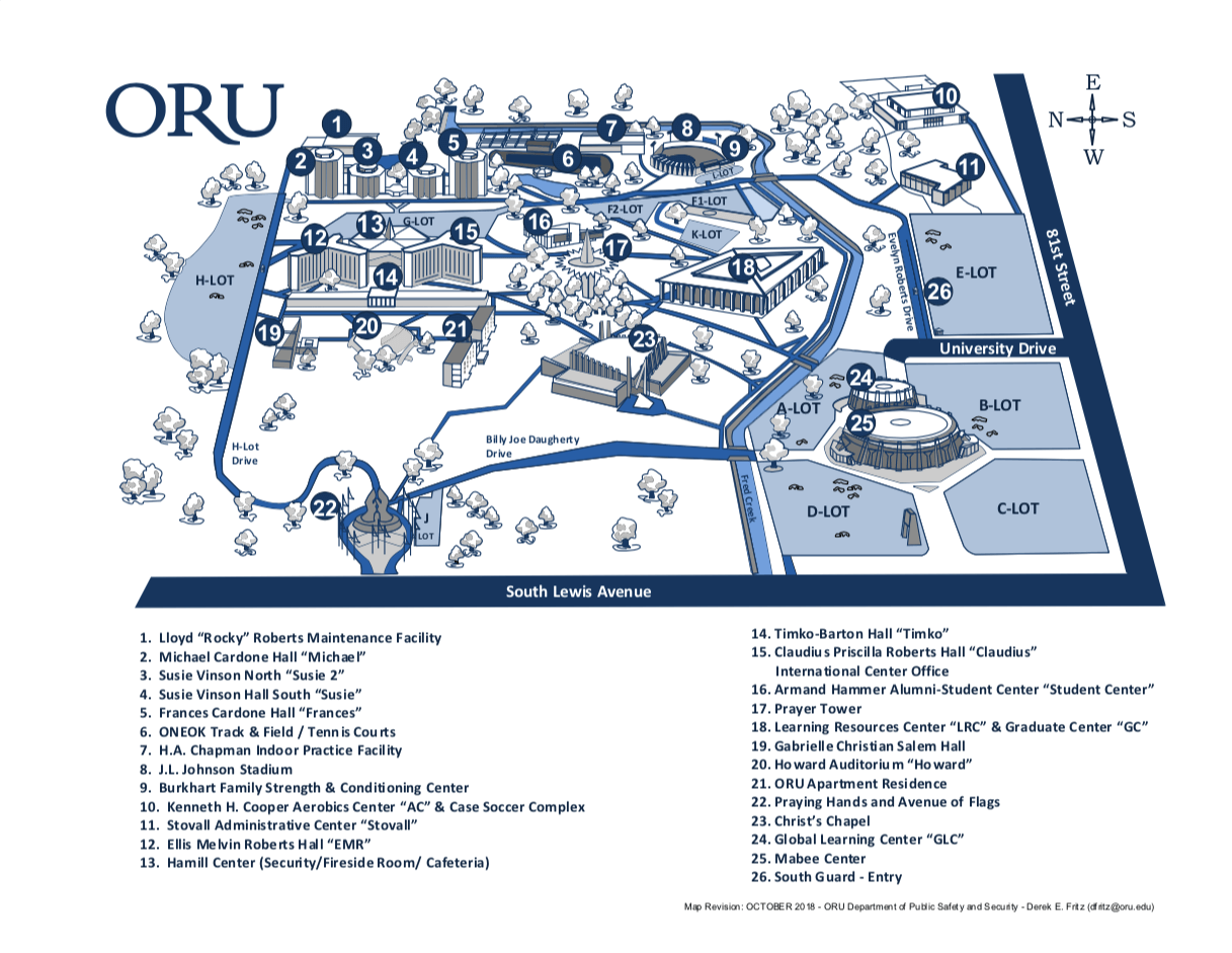 Map of ORU Campus