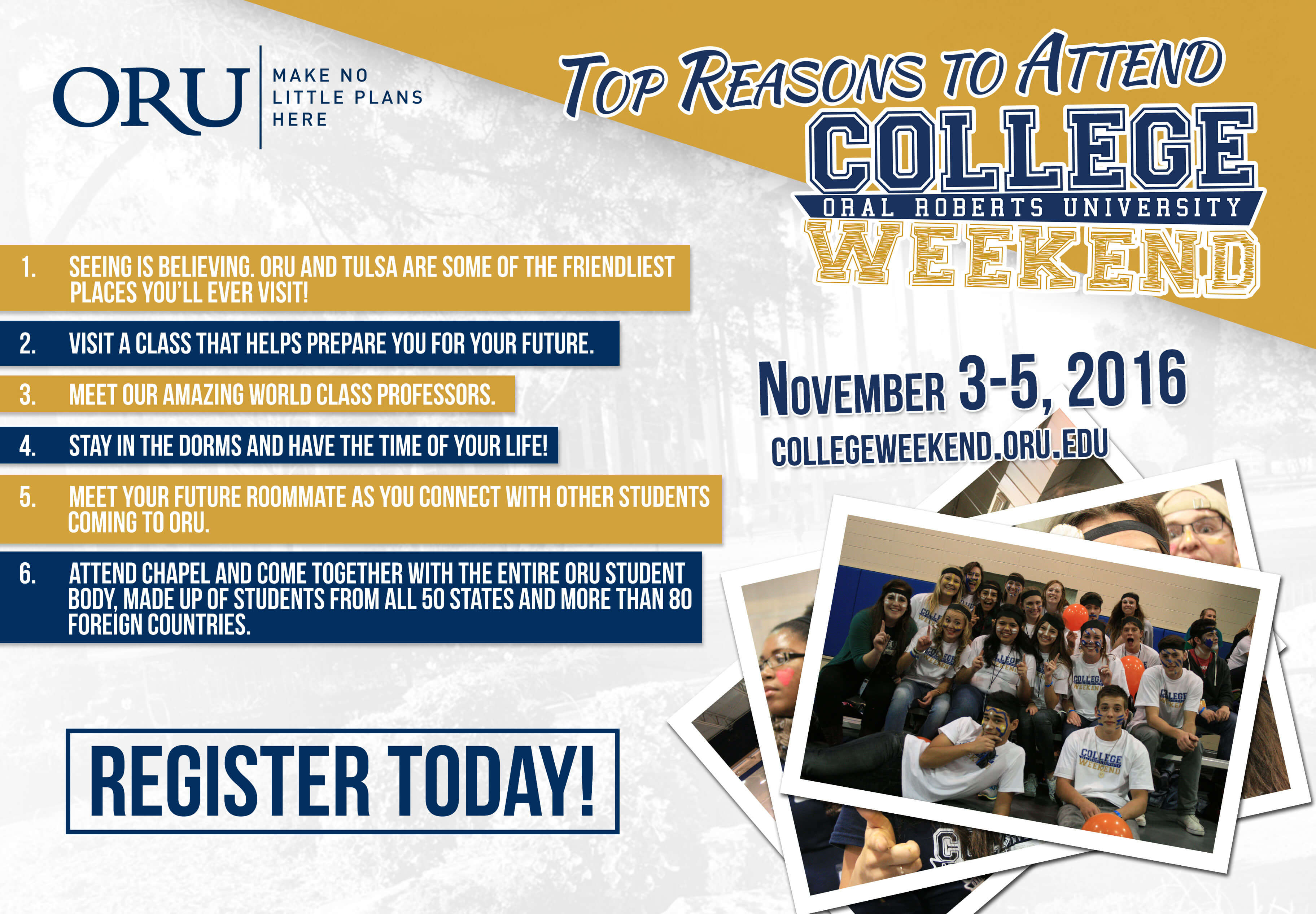 Top reasons to come to College Weekend