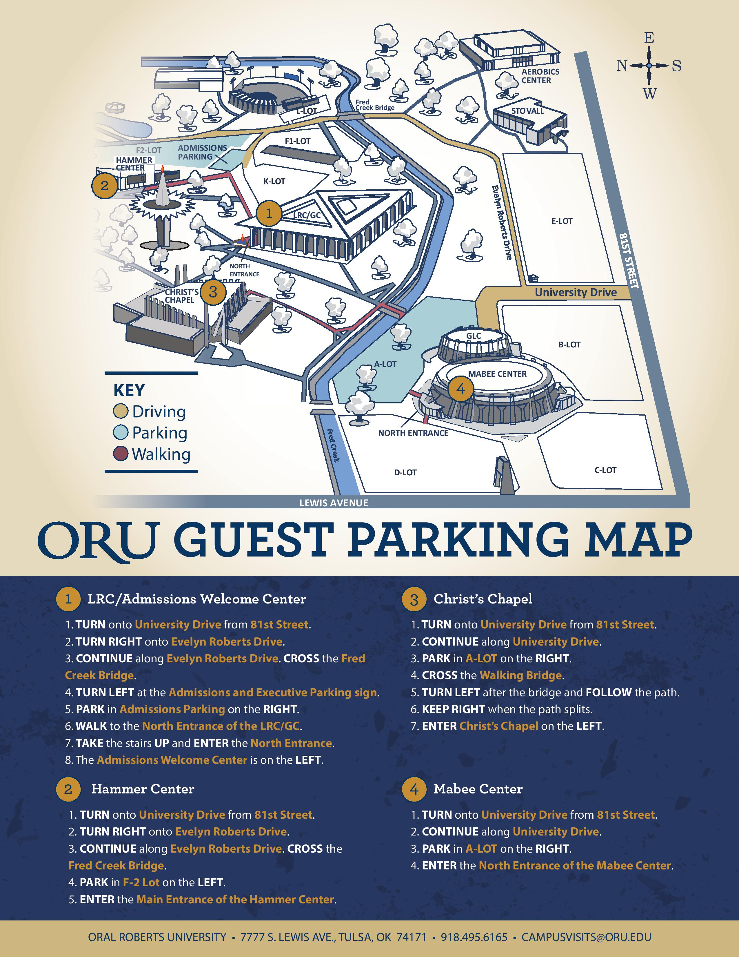ORU Guest Parking Map