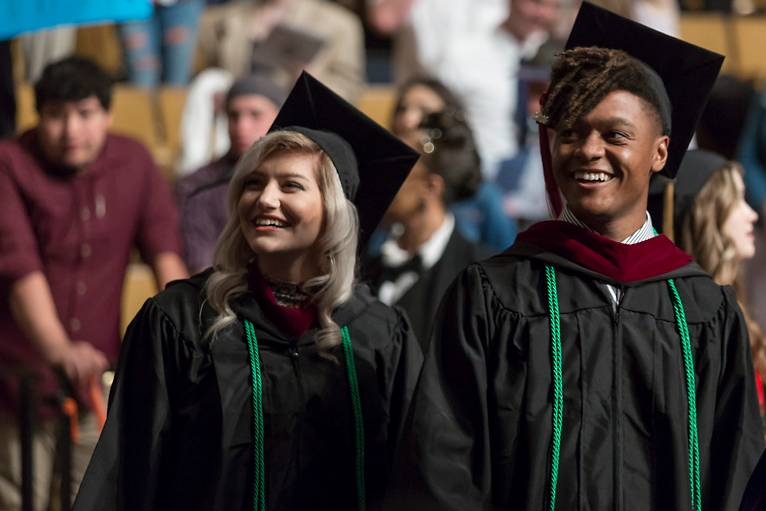 Advertising and media grads at commencement 2016