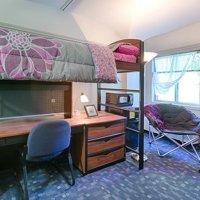 bed, desk, and dresser