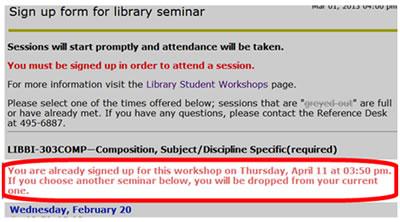 LIBBI-signed up workshop date